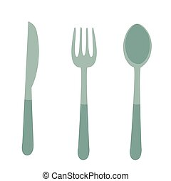 bianco, illustrazione, oggetto, vettore, coltello, cucchiaio, forchetta, appartamento, coltelleria, isolato, fondo