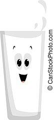 bianco, illustrazione, vetro, latte, vettore, fondo.