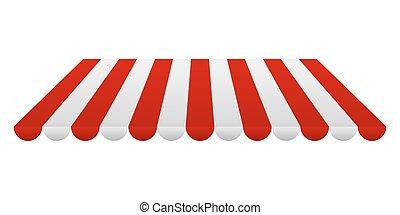 bianco, illustrazione, vettore, tent., strisce, rosso