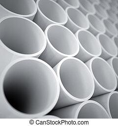 bianco, industriale, cilindri, fondo, plastica