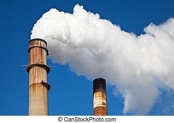 bianco, industriale, ciminiera, fumo, fuori