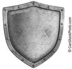 bianco, invecchiato, metallo, scudo, isolato
