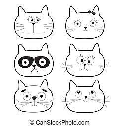 bianco, isolated., contorno, characters., testa, divertente, cartone animato, carino, set., nero, fondo., appartamento, gatto, design.