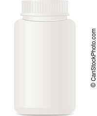 bianco, isolato, bottiglia, plastica