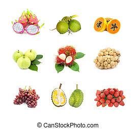 bianco, isolato, collezione, frutte