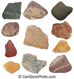 bianco, isolato, collezione, pietre