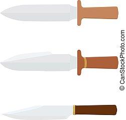 bianco, isolato, coltello, cucina