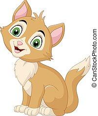 bianco, isolato, gatto, fondo, sorridente, cartone animato