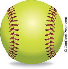 bianco, isolato, illustrazione, softball