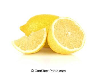 bianco, isolato, limoni, disposizione