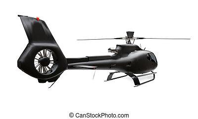 bianco, isolato, nero, rendering., 3d, elicottero, fondo.