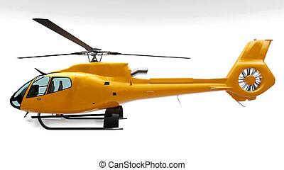 bianco, isolato, rendering., giallo, 3d, elicottero, fondo.