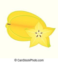 bianco, isolato, starfruit