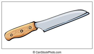 bianco, isolato, vettore, fondo., coltello, cucina