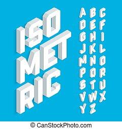 bianco, isometrico, 3d, font