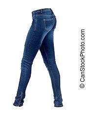 bianco, jeans, fondo, womans