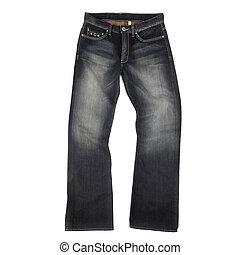 bianco, jeans, isolato, fondo