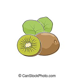 bianco, kiwifruit, isolato