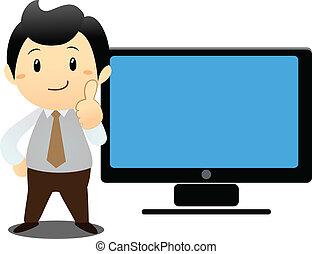 bianco, laptop, uomo affari, sopra