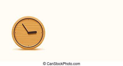 bianco, largo, legno, orologio, fondo