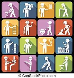 bianco, lavoratore costruzione, icone
