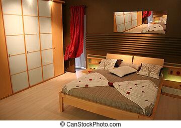 bianco, legno, bugigattolo, camera letto