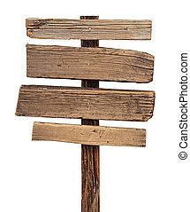 bianco, legno, isolato, segno