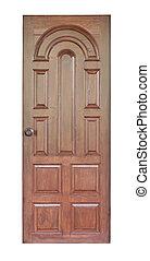 bianco, legno, porta, isolato, fondo