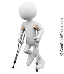 bianco, lesione, persone., 3d