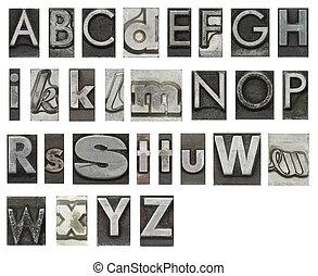 bianco, lettere, isolato, blocco