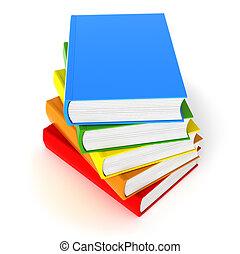 bianco, libri, cinque, colorato