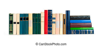 bianco, libri, fondo, fila