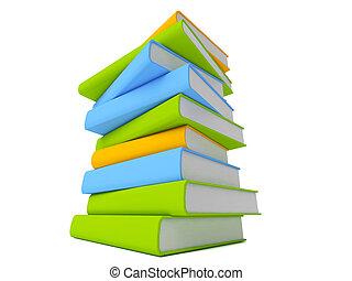 bianco, libri, isolato