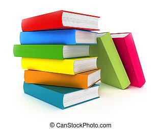 bianco, libri, isolato, colorito