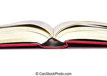bianco, libri, isolato, fondo