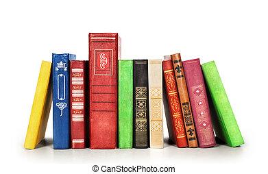 bianco, libri, isolato, fondo, pila