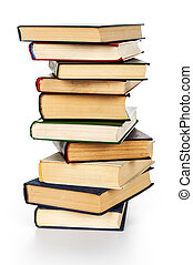 bianco, libri, mucchio, isolato