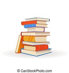 bianco, libri, pila, colorito