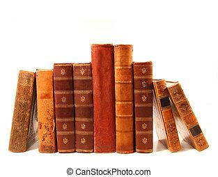 bianco, libri, vecchio, fondo, contro