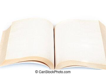 bianco, libro, aperto, fondo