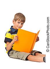 bianco, libro, presa a terra, scolaro