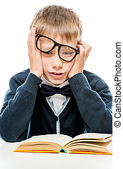 bianco, libro, scombussolare, fondo, scolaro