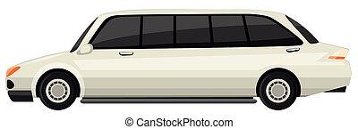 bianco, limousine, fondo