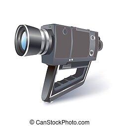 bianco, macchina fotografica, video, illustrazione, vinteage