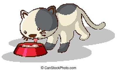 bianco, mangiare, cibo gatto, fondo