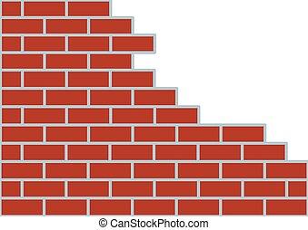 bianco, marrone, muro di mattoni, fondo.
