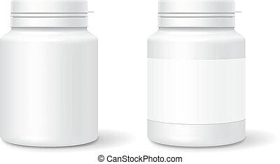 bianco, medicina, bottiglia di plastica, per, tavolette, pills., realistico, imballaggio, mockup, template., vettore, illustrazione