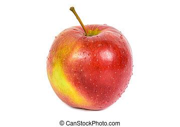 bianco, mela, fondo, rosso
