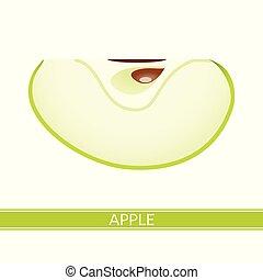 bianco, mela, isolato