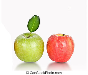 bianco, mele, fondo, isolato